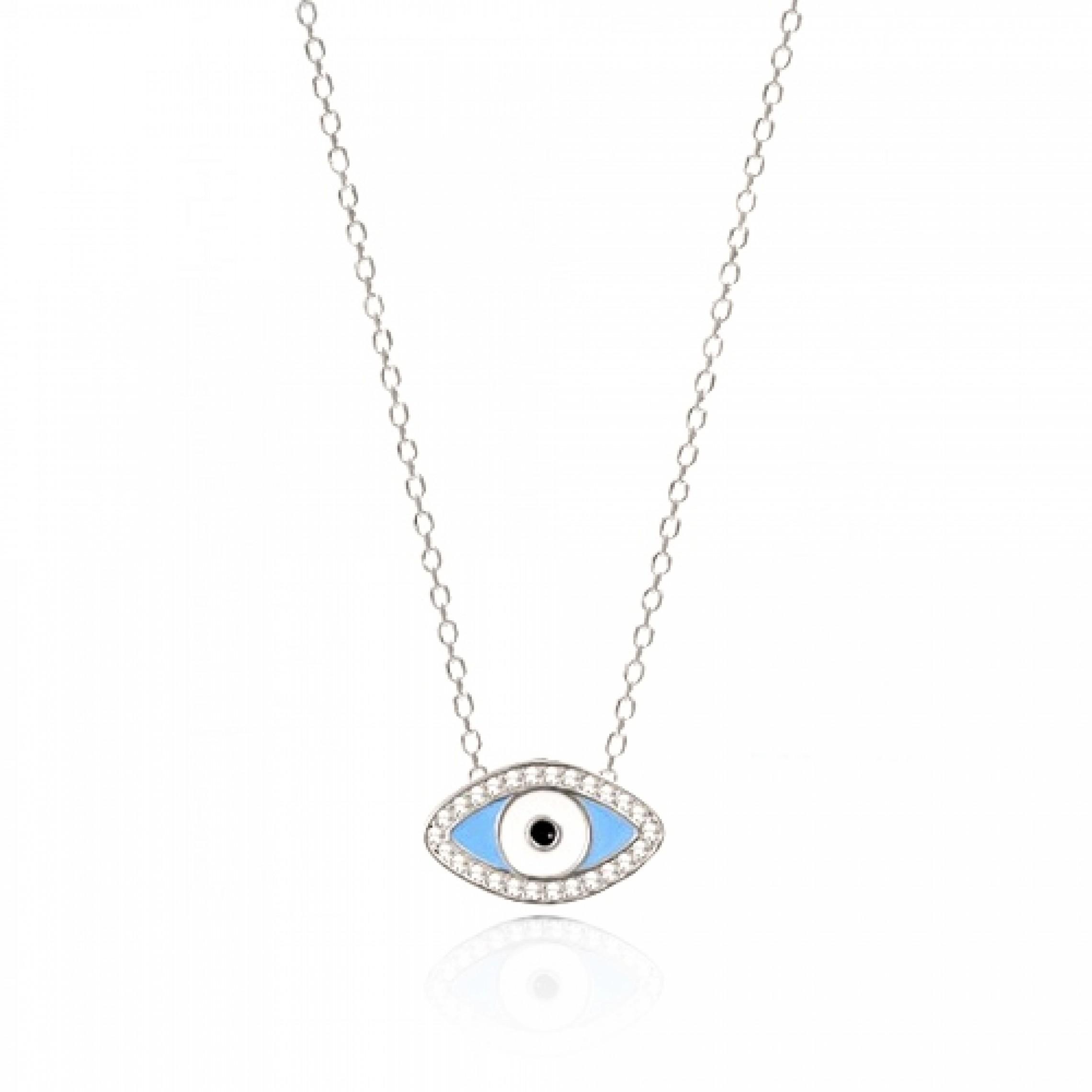 JN-190230 Evil Eye 925 Sterling Silver CZ Necklace Evil Eyes