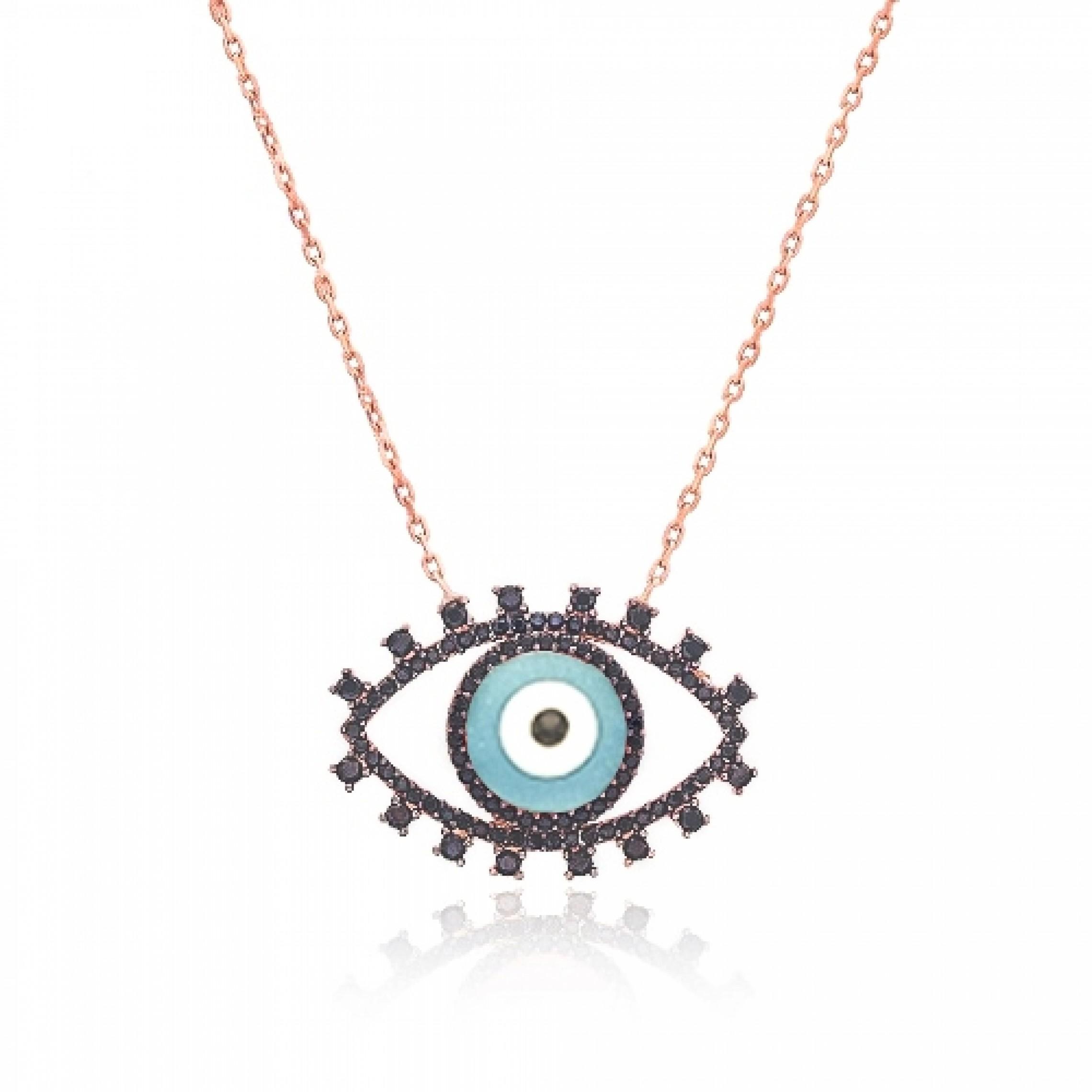 JN-190241 Evil Eye 925 Sterling Silver CZ Necklace Evil Eyes