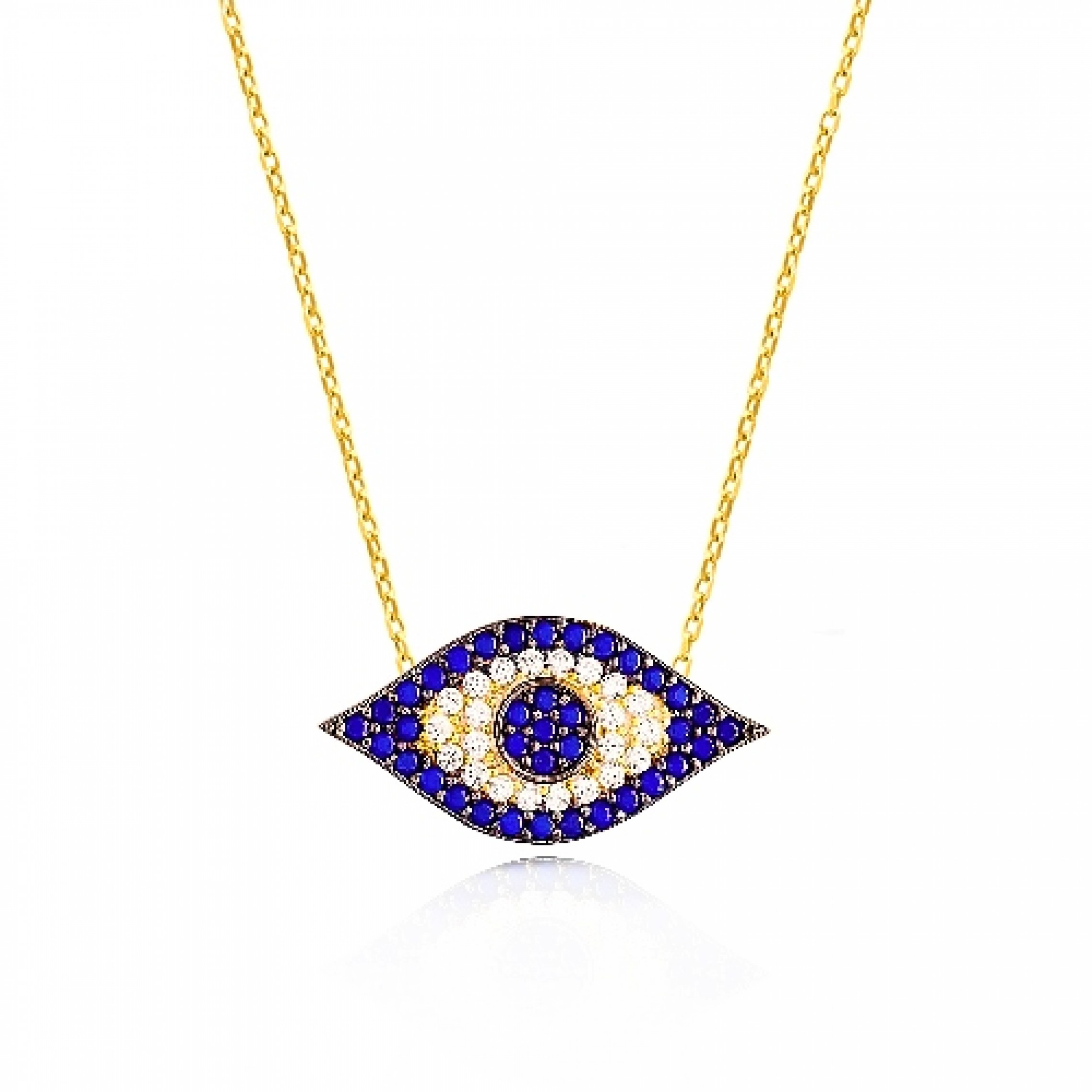 JN-190244 Evil Eye 925 Sterling Silver CZ Necklace Evil Eyes