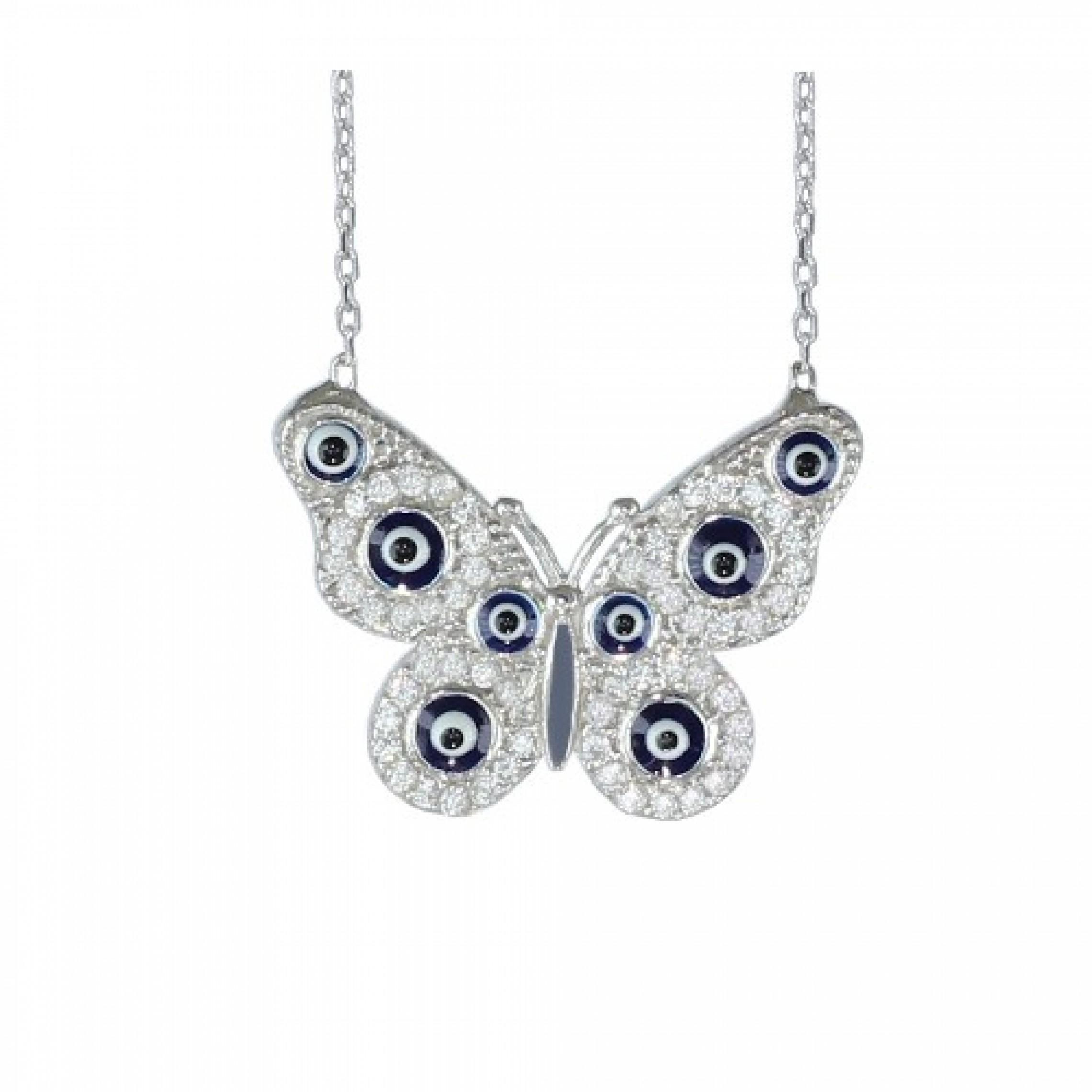 SN-423 Evil Eye 925 Sterling Silver CZ Necklace