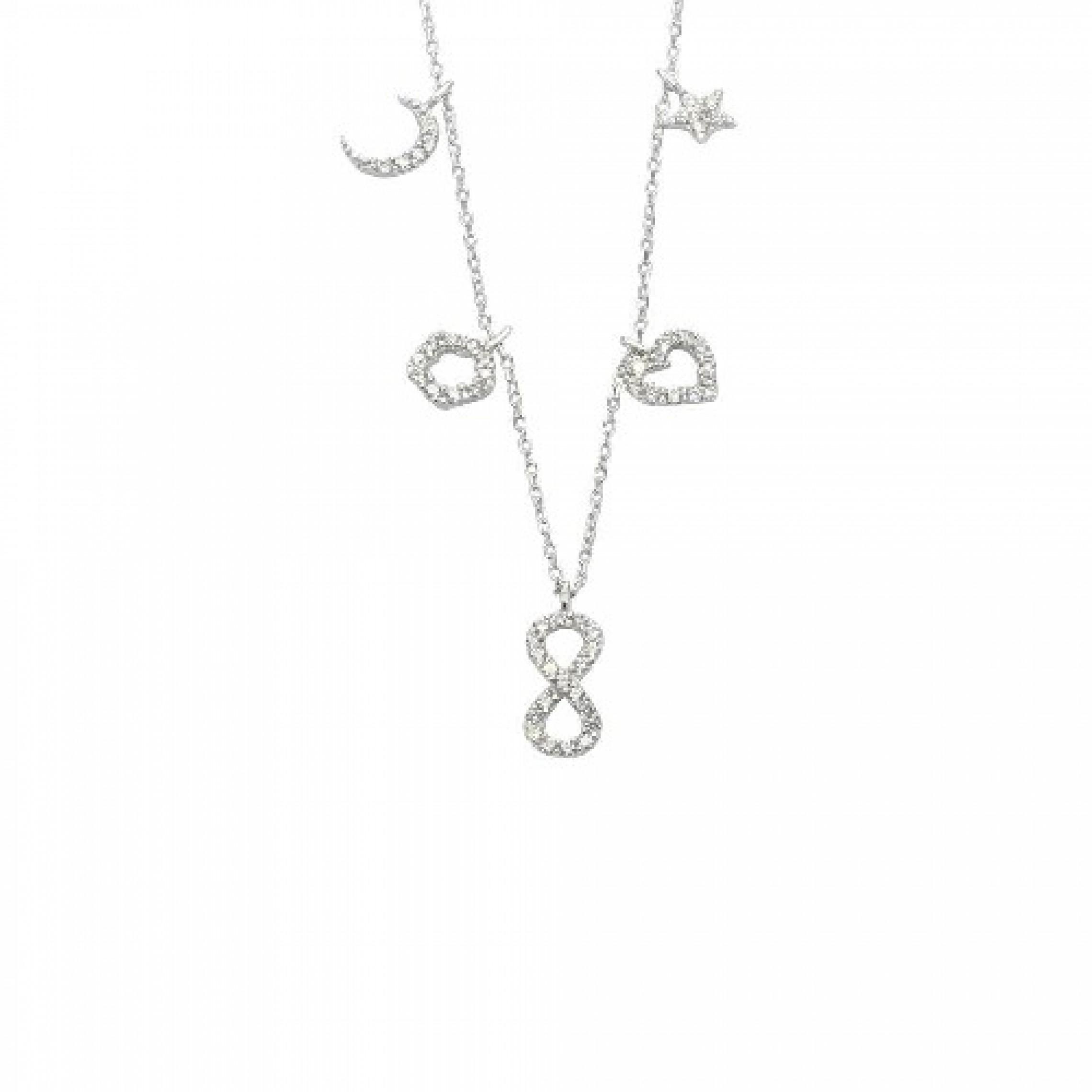 SN-548 Evil Eye 925 Sterling Silver CZ Necklace