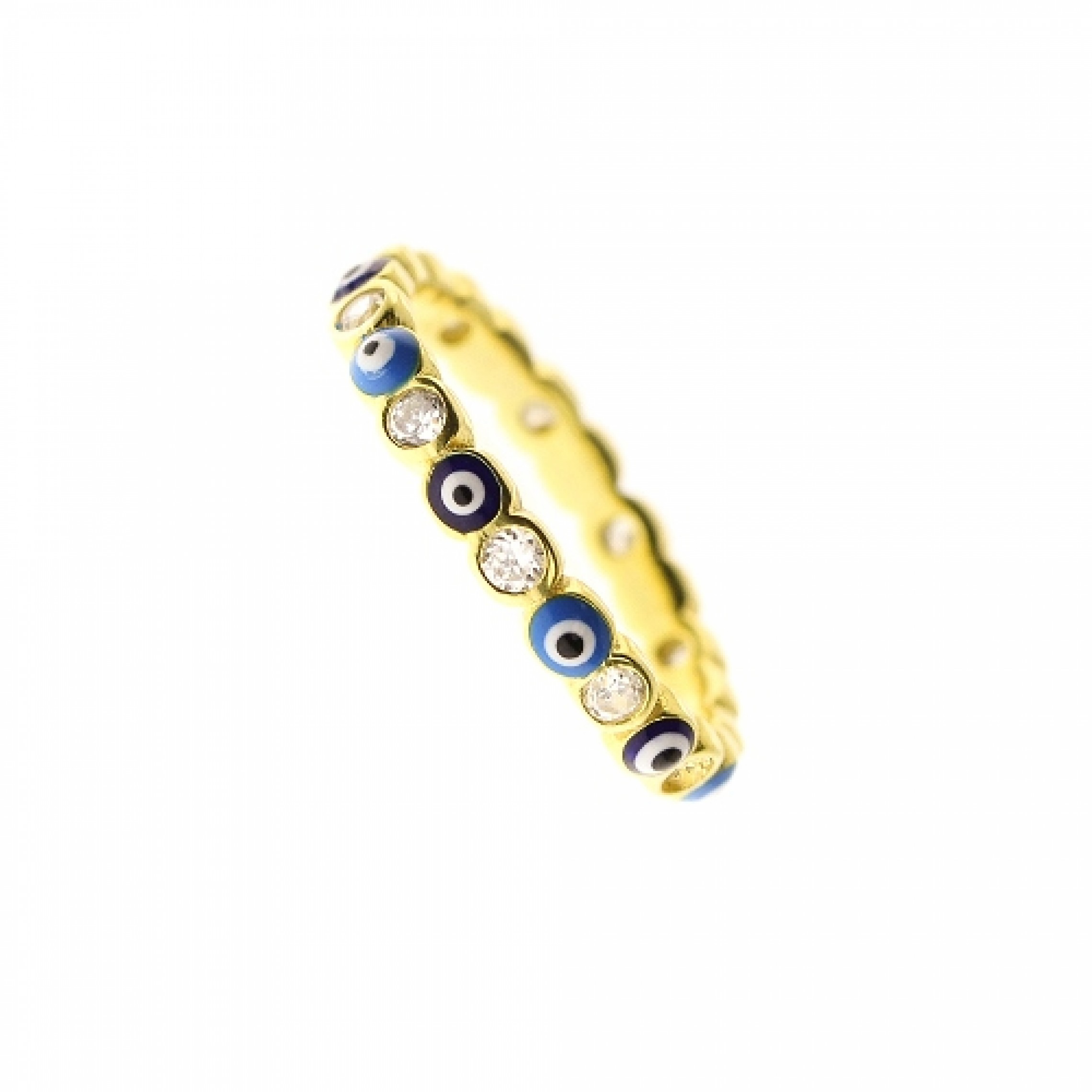 JR-200001 Evil Eye 925 Sterling Silver CZ Ring
